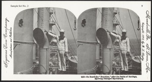 """On board the """"Brooklyn"""" after the Battle of Santiago, showing damaged smokestack"""