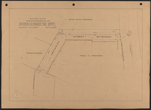 Survey plan for extension of Kendrick St.