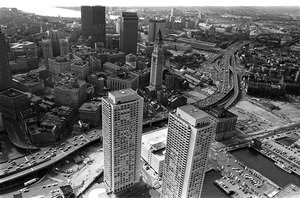 Central Artery and downtown: Note Customs House & Harbor Towers, downtown Boston