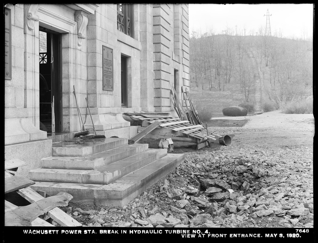 Wachusett Department, Wachusett Dam Hydroelectric Power Station, break in turbine No. 4, view at front entrance, Clinton, Mass., May 3, 1920