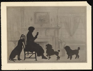 Miss Kate Cary: silhouette print of Kate Cary & three dogs