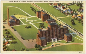 Aerial view of Toledo Hospital and Nurses' Home, Toledo, Ohio