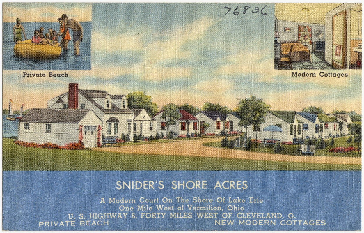 Ohio erie county vermilion - Snider S Shore Acres A Modern Court On The Shore Of The Lake Erie One Mile West Of Vermilion Ohio U S Highways 6 Forty Miles West Of Cleveland O