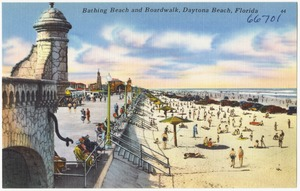 Bathing beach and boardwalk, Daytona Beach, Florida