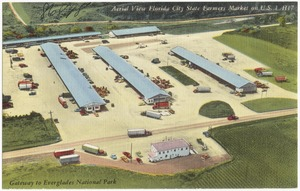 Aerial view Florida City State Farmers Market on U.S. 1, H17. Gateway to Everglades National Park