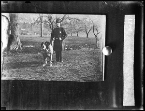 """Officer Alfred W. Goodhue and dog """"Carlo"""""""