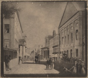 Tremont Street looking north, 1843