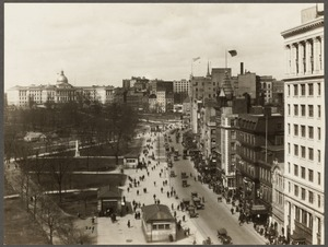 Boston Common. 1918, showing Tremont and Park Sts.