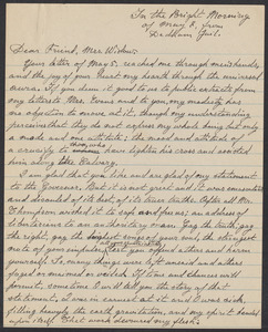 Sacco-Vanzetti Case Records, 1920-1928. Correspondence. Bartolomeo Vanzetti to Mrs. Gertrude L. Winslow, May 7, 1927. Box 40, Folder 117, Harvard Law School Library, Historical & Special Collections