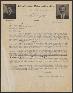 Sacco-Vanzetti Case Records, 1920-1928. Correspondence. Sacco-Vanzetti Defense Committee Correspondence to Alexander Howat, March, 1921. Box 41, Folder 18, Harvard Law School Library, Historical & Special Collections