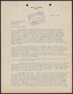 Sacco-Vanzetti Case Records, 1920-1928. Correspondence. Sacco-Vanzetti Defense Committee Correspondence to Charles Page, May 3, 1922.  Box 41, Folder 27, Harvard Law School Library, Historical & Special Collections