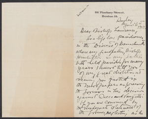 Sacco-Vanzetti Case Records, 1920-1928. Correspondence. Bishop William Lawrence, 1927. Box 41, Folder 61, Harvard Law School Library, Historical & Special Collections