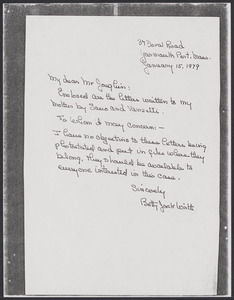 Sacco-Vanzetti Case Records, 1920-1928. Correspondence. Betty Jack Wirth and Louis Joughin, 1978-1979. Box 41, Folder 68, Harvard Law School Library, Historical & Special Collections