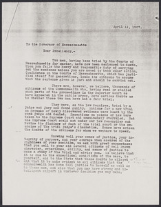 Sacco-Vanzetti Case Records, 1920-1928. Correspondence. Photocopies from Boston Athenaeum: E.M. Morgan to Charles P. Curtis, 1948. Vanzetti letter from prison, 1927. Vanzetti letter to Bigelow, 1927. Unsigned letter to Governor Fuller, April 11, 1927. Box 41, Folder 69, Harvard Law School Library, Historical & Special Collections