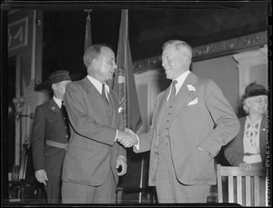 Gov. Joseph Ely shakes hands with Theodore Roosevelt, Jr.