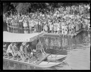 Shirley Temple rides the famous swan boats