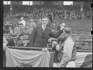 Leverett Saltonstall throws out first ball at Braves Field