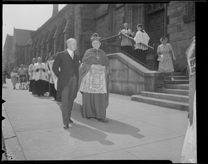 Archbishop Cushing outside Cathedral of the Holy Cross