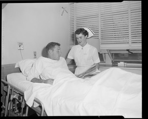 Athlete in hospital bed
