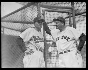 """Opening Day at Fenway: Manager Mike """"Pinky"""" Higgins with Baltimore manager, maybe Paul Richards"""