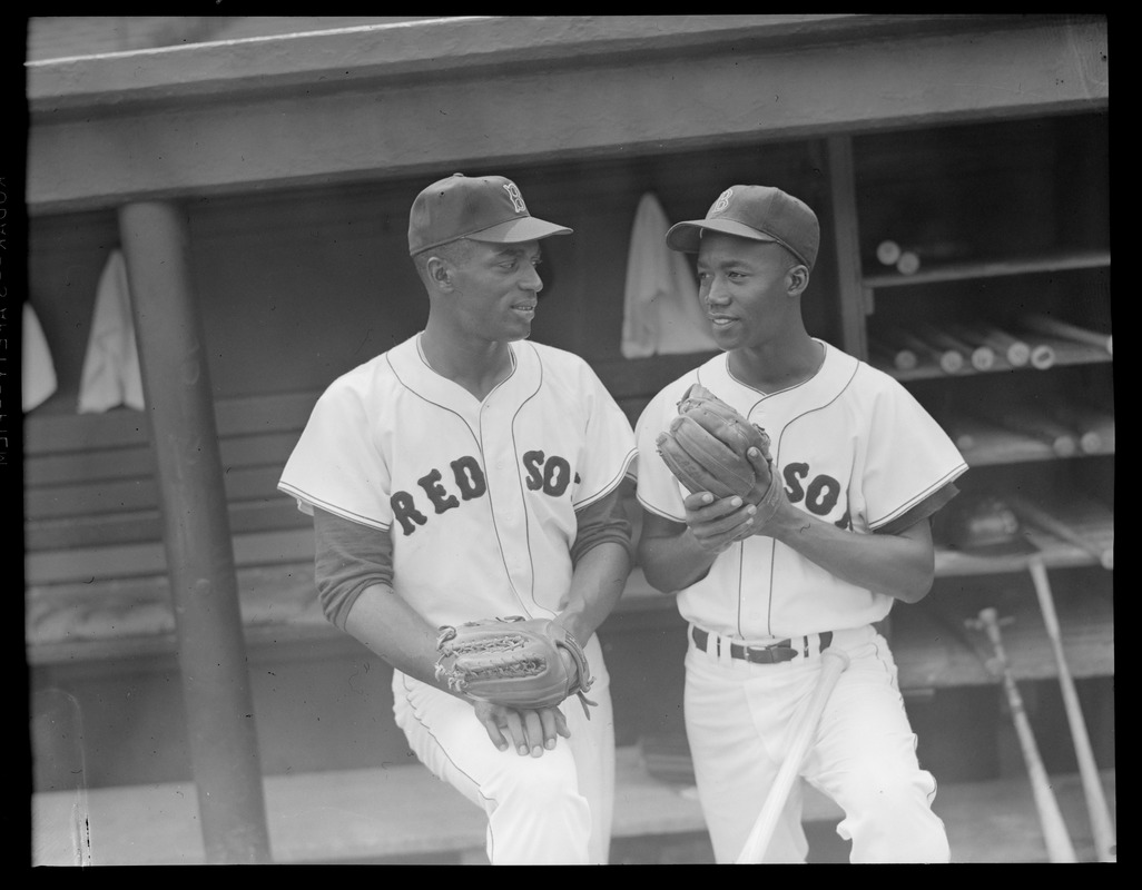 Pitcher Earl Wilson, left, and 2nd baseman Pumpsie Green, the Red Sox' colored players