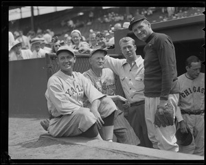 All-time pitching greats at Old-Timers' Game at Fenway. L-R: Joe Wood, Cy Young, Lefty Grove and Walter Johnson