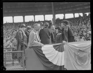Leverett Saltonstall throws out first ball at Fenway
