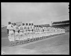 Red Sox lined up on field, Fenway Park