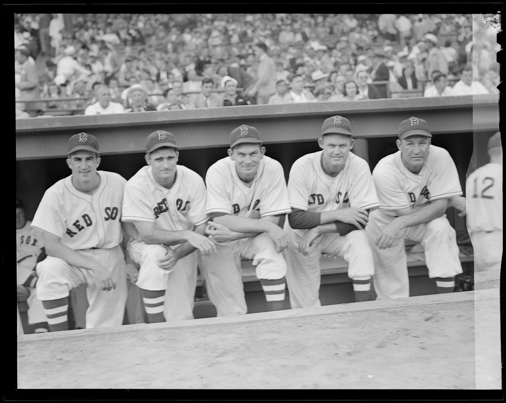 Red Sox players in dugout - 1946 World Series