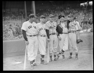 Red Sox and Cardinals with baseball clown, Al Schact, 1946 World Series