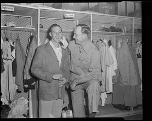 Warren Spahn in clubhouse at Braves Field