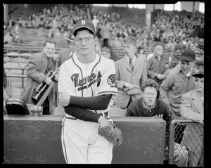Earl Torgeson of the Braves poses in front of stands at Braves Field