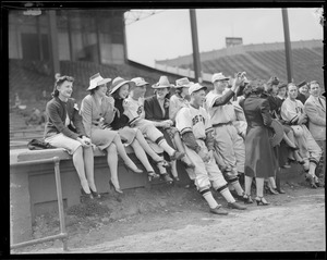 Bees players with women at Braves Field
