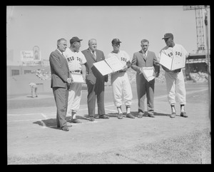 Red Sox honored at Fenway. Joe Cronin (head of American League), Bobby Doerr (ex 2nd base), Curt Gowdy (announcer), W. C. Bouquette (no hitter), Robert Earl Wilson (no hitter), Rudy York (1st base coach).
