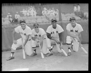 Frank Malzone, Don Buddin, Pumpsie Green and Pete Runnels, the Red Sox infield