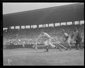 Bobby Doerr puts the ball in play at Fenway versus Detroit