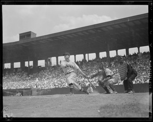 Bobby Doerr hitting against the Yankees at Fenway
