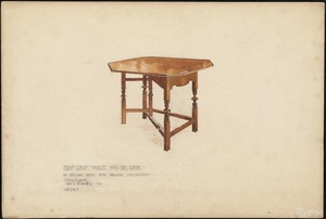 Drop leaf table with one gate of brown wood with yellow decoration