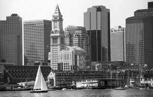 Customs House & sailboats from East Boston, downtown Boston