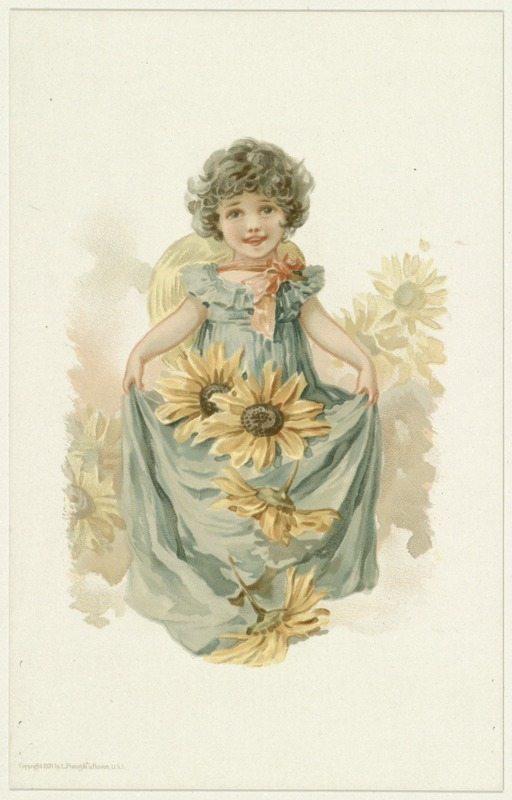 Little Girl with Sunflowers