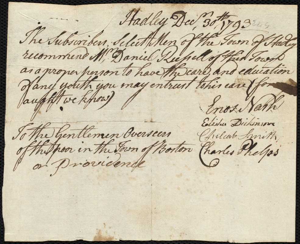 Document of indenture: Servant: Lewis, William. Master: Russell, Daniel. Town of Master: Hadley. Selectmen of the town of Hadley autograph document signed to the [Overseers of the Poor of the town of Boston]: Endorsement Certificate for Daniel Russell.