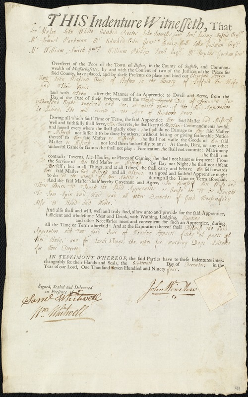 Document of indenture: Servant: Peirce, Elizabeth. Master: Winslow, John. Town of Master: Boston