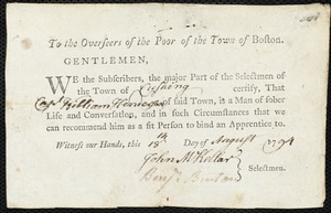 Document of indenture: Servant: Larence, Elizabeth. Master: Henderson, William. Town of Master: Cushing. Selectmen of the town of Cushing autograph document signed to the Overseers of the Poor of the town of Boston: Endorsement Certificate forWilliam Henderson.