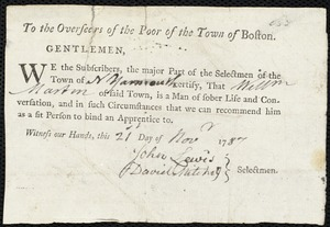 Document of indenture: Servant: Donner, William. Master: Martin, William. Town of Master: North Yarmouth. Selectmen of the town of Yarmouth autograph document signed to the Overseers of the Poor of the town of Boston: Endorsement Certificate for William Martin.