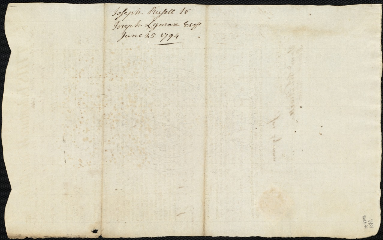 Document of indenture: Servant: Russell, Joseph. Master: Lyman, Joseph. Town of Master: Westfield. Selectmen of the town of Westfield autograph document signed to the Overseers of the Poor of the town of Boston: Endorsement Certificate for Joseph Lyman.