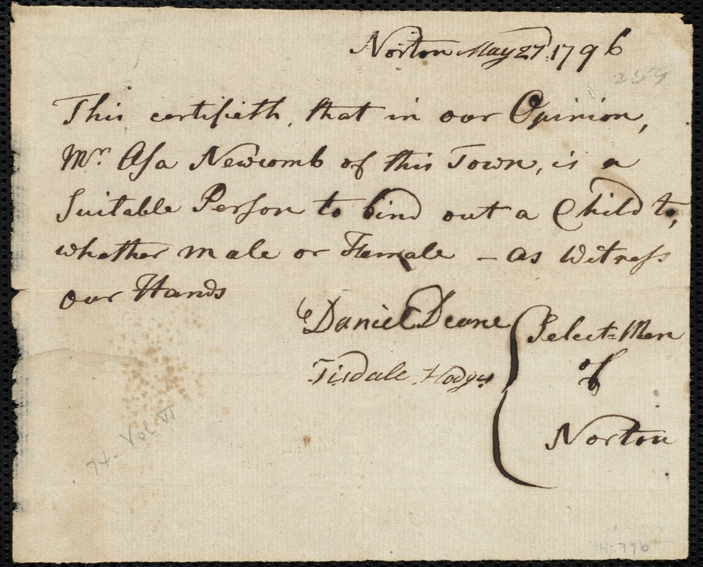 Document of indenture: Servant: Jolly, Charles. Master: Newcomb, Asa. Town of Master: Norton. Selectmen of the town of Norton autograph document signed to the [Overseers of the Poor of the town of Boston]: Endorsement Certificate for Asa Newcomb.