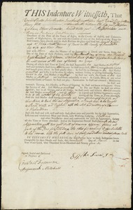 Document of indenture: Servant: Gordon, Samuel. Master: Snow, Elisha Jr. Town of Master: Truro