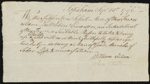 Document of indenture: Servant: Adams, Nathaniel. Master: Emerson, Ebenezer. Town of Master: Topsham. Selectmen of the town of Topsham autograph document signed to the [Overseers of the Poor of the town of Boston]: Endorsement Certificate for Ebenezer Emerson.