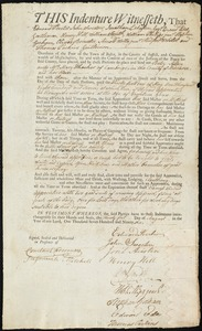Document of indenture: Servant: Allen, Betsy. Master: Thacher, Mary. Town of Master: Cambridge