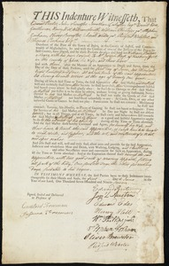Document of indenture: Servant: Badger, William. Master: Hoyt, Joseph. Town of Master: Newburyport